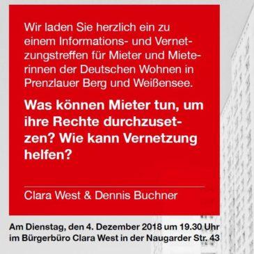+++ Absage +++ Vernetzungs- und Informationstreffen für MieterInnen der DW am 4. Dezember