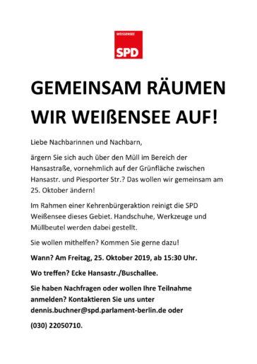 Kehrenbürgeraktion mit der SPD Weißensee am 25. Oktober
